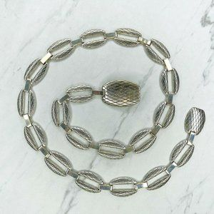 Silver Tone Engraved Link Belly Body Chain Belt